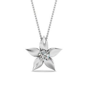 Jewelry - Solitaire Flower Style Diamond Pendant 0.75 Carat